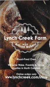Lynch Creek Farm Bakery Business Card